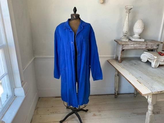 Vintage Jacket French Long Prussian Blue Lab Coat… - image 1