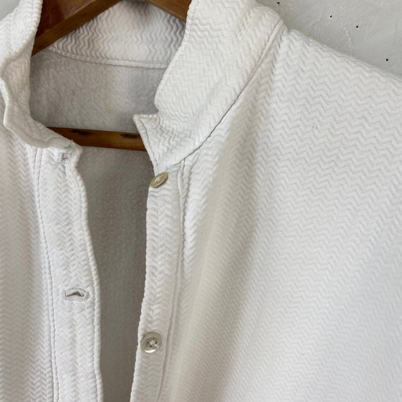 White Brushed Cotton Shirt Textured Sleepwear 192… - image 5