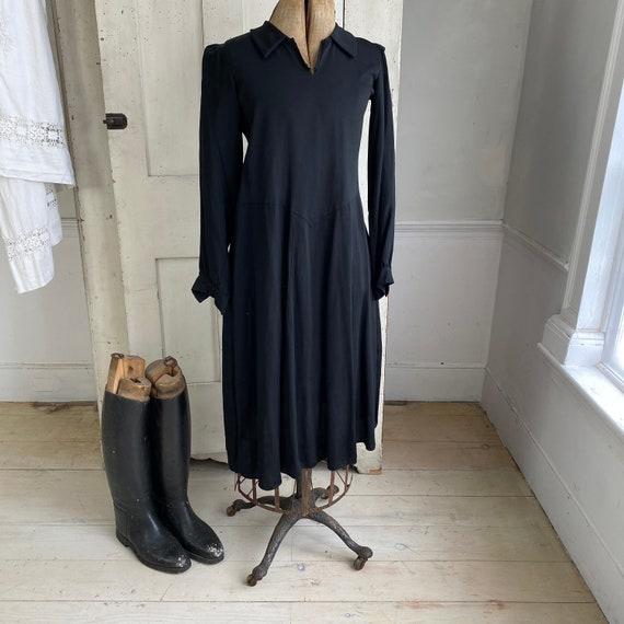 Black rayon dress 1930's 1940's fashion French dr… - image 10