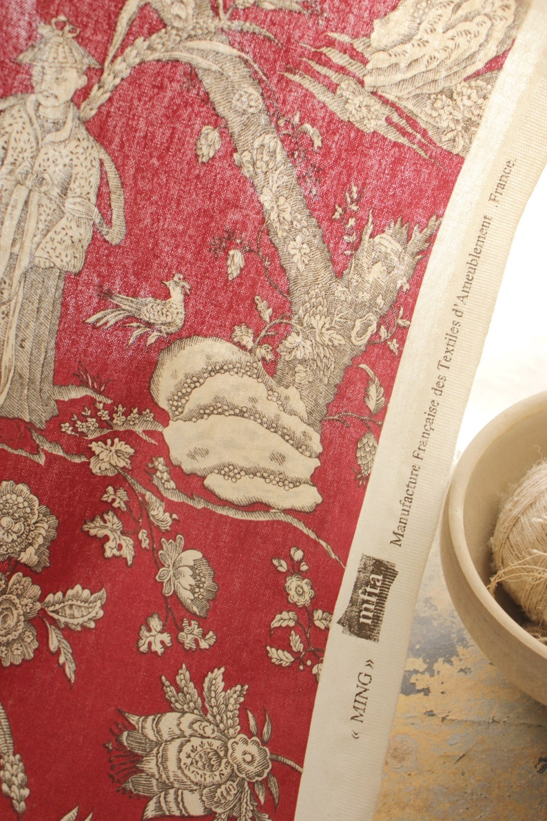 """Manufacture Francaise Des Textiles D Ameublement french fabric red black and white chinoiserie toile design late 1980's  heavy printed cotton scenes large panel mfta france """"ming"""""""