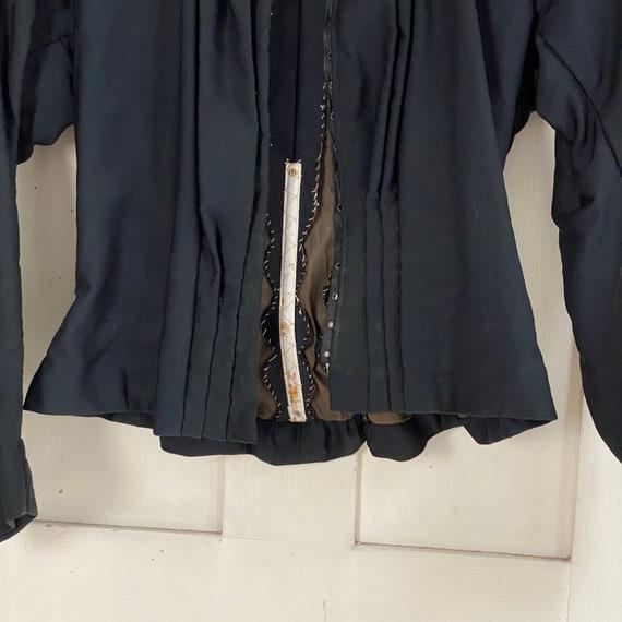 Victorian French Shirt Black Silk Blouse or Antiq… - image 7