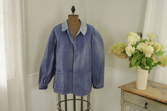 Jacket French work wear Faded Antique Blue Denim … - image 4