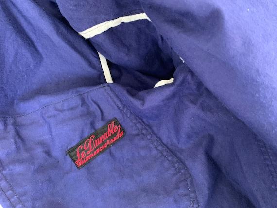 Vintage Jacket French Workwear Dark Blue Coat Zip… - image 4
