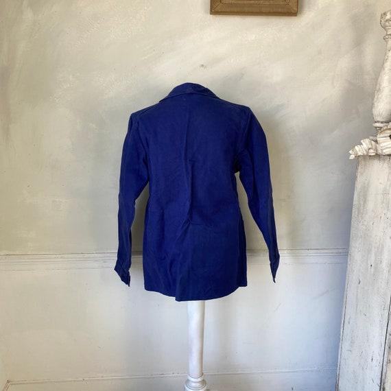 Vintage Jacket French Workwear Blue Jacket Faded … - image 5