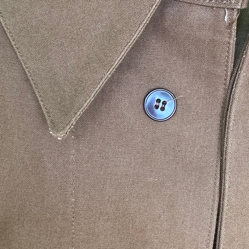 Vintage Canvas Jacket Heavy Brown Cotton Unused French Workwear