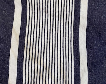 Antique Ticking Fragment 1900s Blue Stripe Vintage Upcycled Repurposed Denim Textile Remnant Small Projects Cotton Pieces