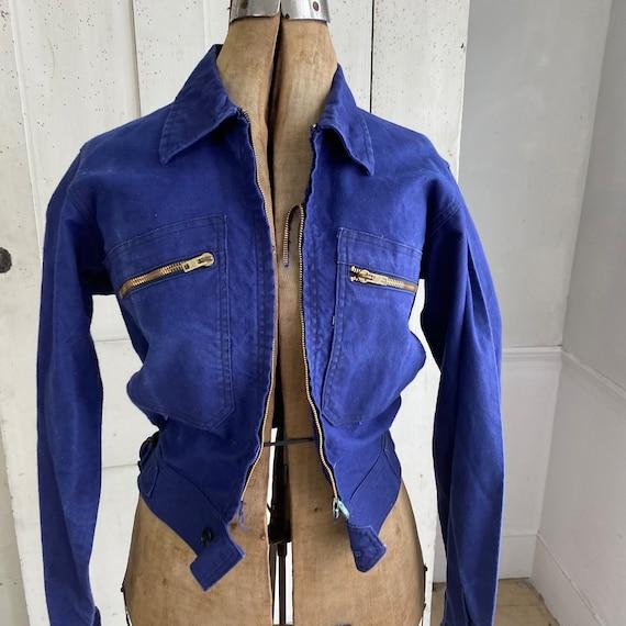 Vintage Jacket French Workwear Dark Blue Coat Zip… - image 6