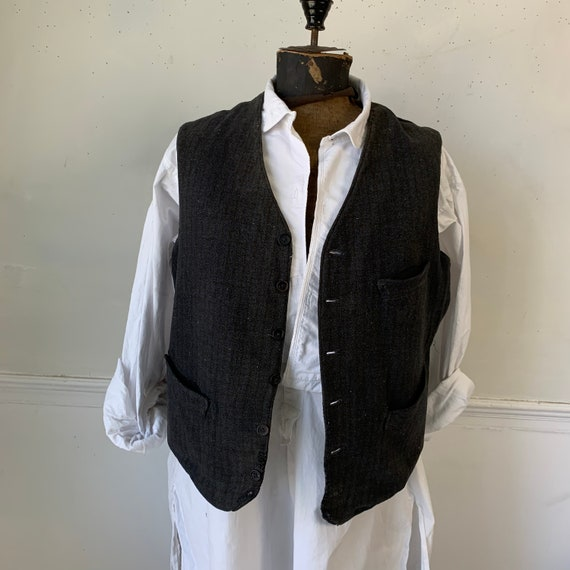 Antique French gray  woven tweed  unisex  vest / … - image 3