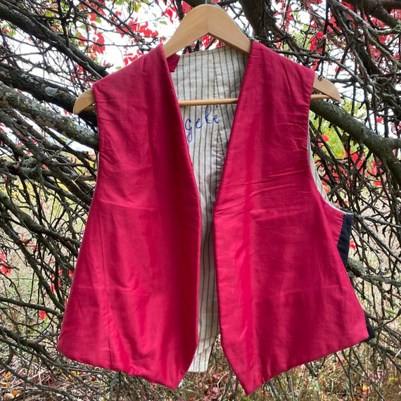 Vest Waistcoat Workwear Work wear Red Antique Fren