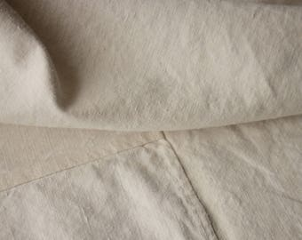 Organic linen cotton fabric heavy weight pieced French sheet 1880's