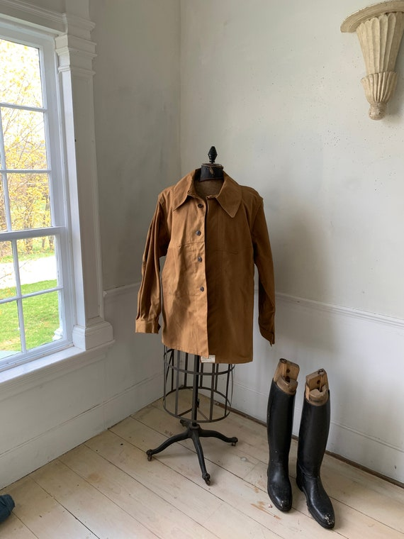 Vintage Canvas Jacket Heavy Brown Cotton Unused F… - image 1
