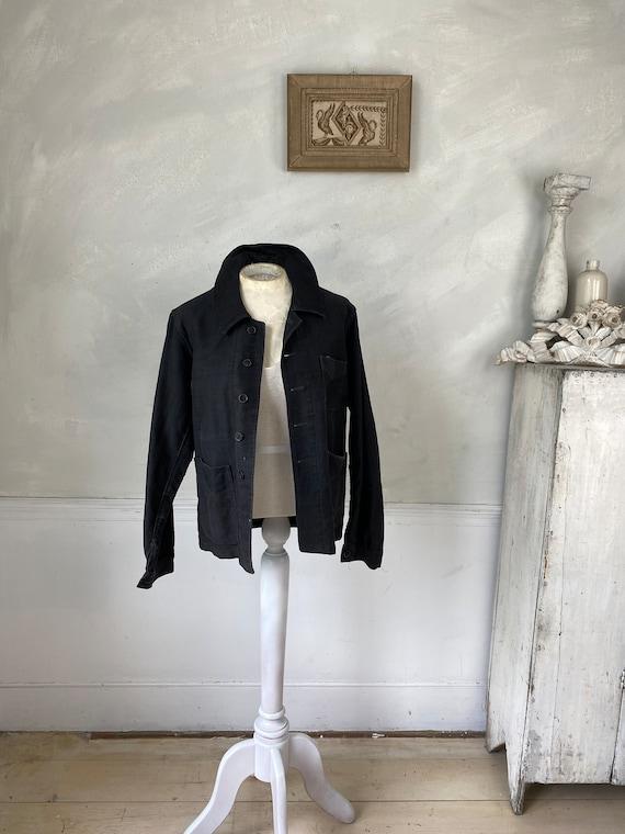 Black Moleskin Jacket 1910-20 Antique French Clot… - image 2