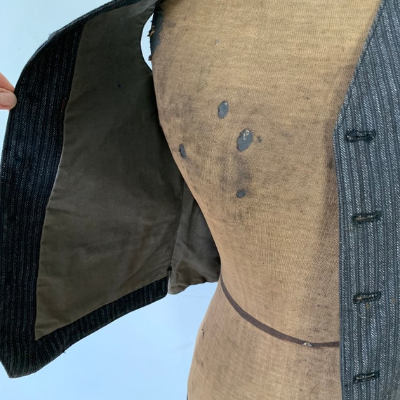 Antique Vest 1940s Striped Gray and Black Waistco… - image 6