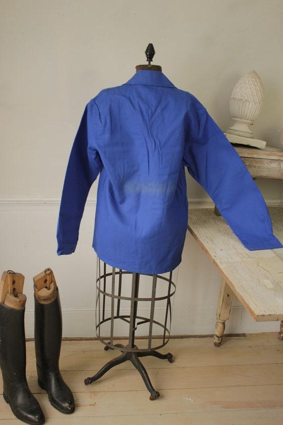 Jacket Vintage French Blue Coat Work wear button … - image 6
