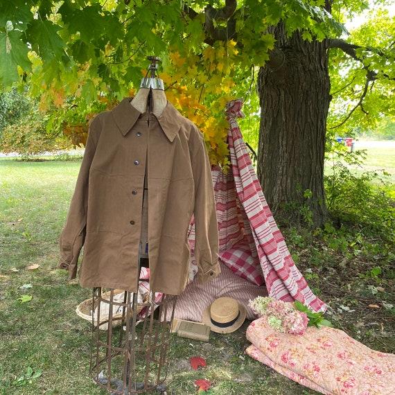 Vintage Canvas Jacket Heavy Brown Cotton Unused F… - image 3