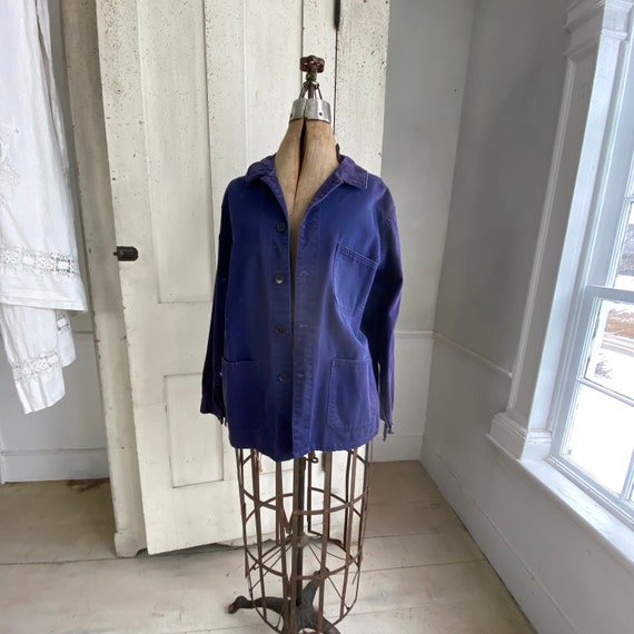 Vintage Jacket French Workwear Faded Antique Dark… - image 1