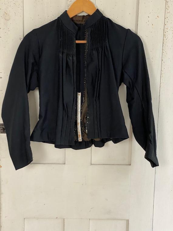 Victorian French Shirt Black Silk Blouse or Antiq… - image 2