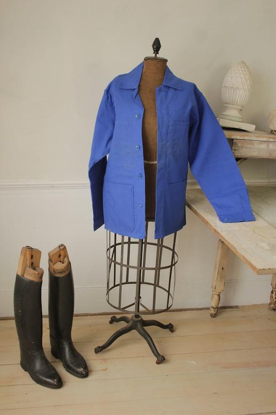 Jacket Vintage French Blue Coat Work wear button u