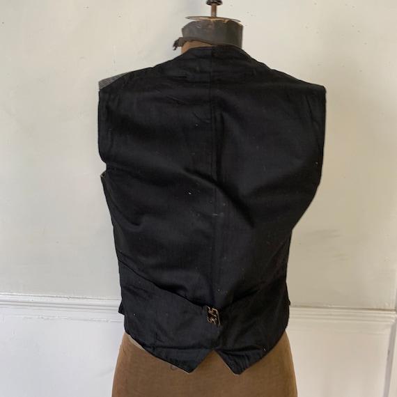 Antique Vest 1940s Striped Gray and Black Waistco… - image 9