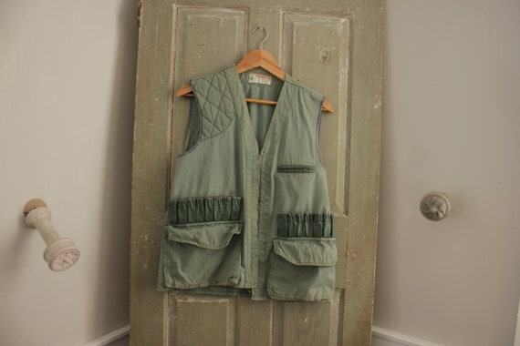 French 1950s Green Hunting Vest waistcoat Workwear
