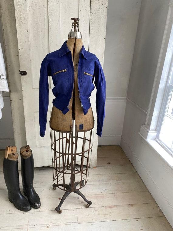 Vintage Jacket French Workwear Dark Blue Coat Zip… - image 2