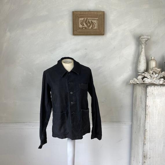 Black Moleskin Jacket 1910-20 Antique French Clot… - image 1