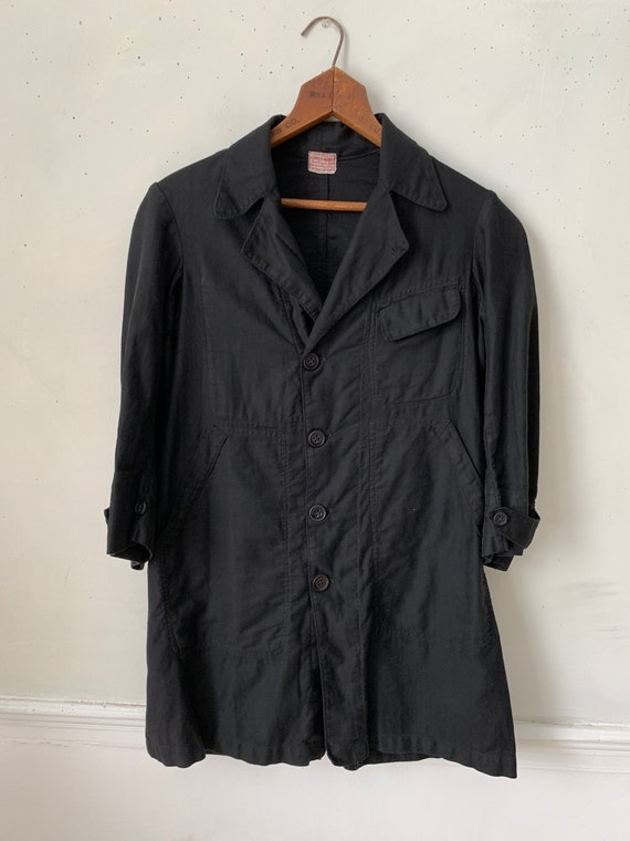 French Vintage Black Jacket Smock or Duster Cotton