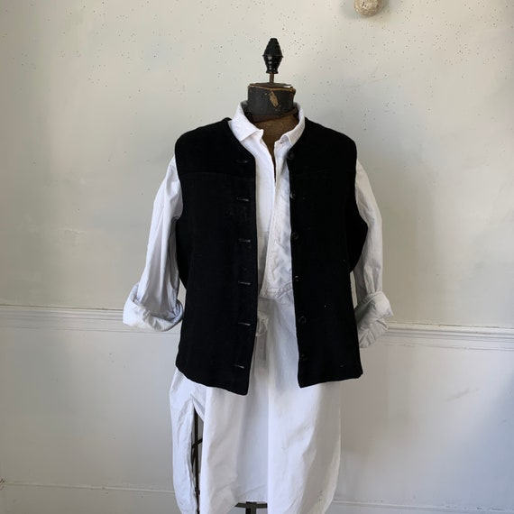 Antique French wool vest waistcoat FAB lining 1940