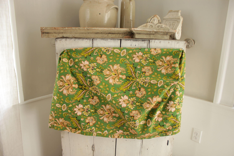 Tissu Francais Vintage Vert Lit Floral Chevalement Couverture Ou