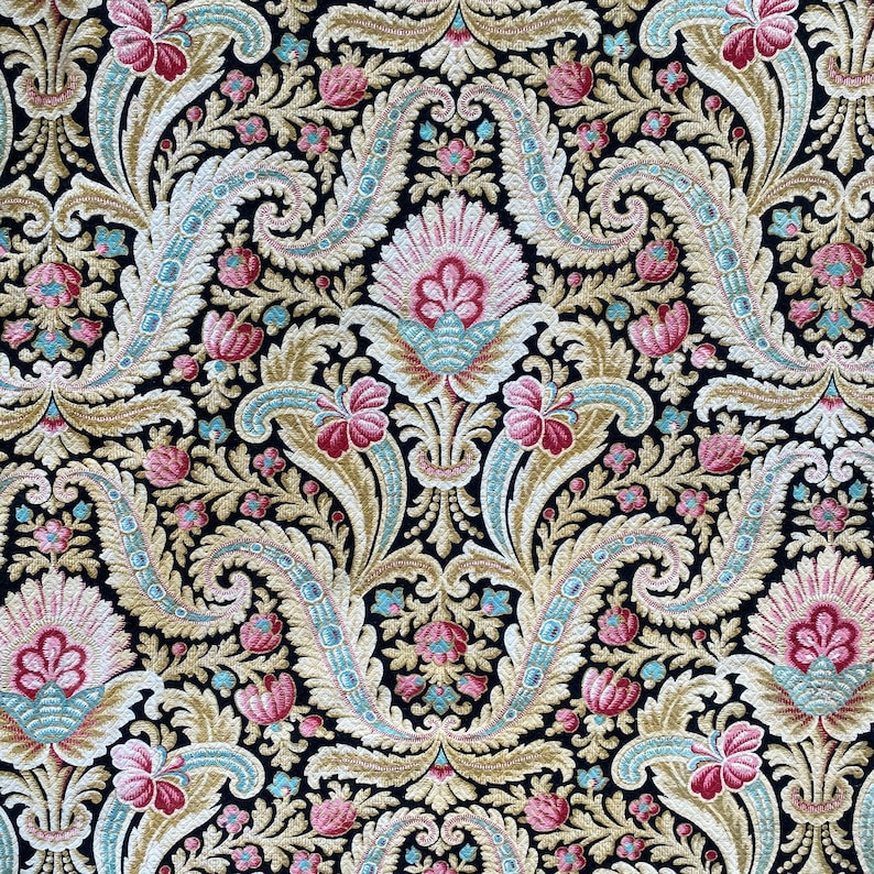 1900 Antique French black fabric floral faded heavy weight upholstery material