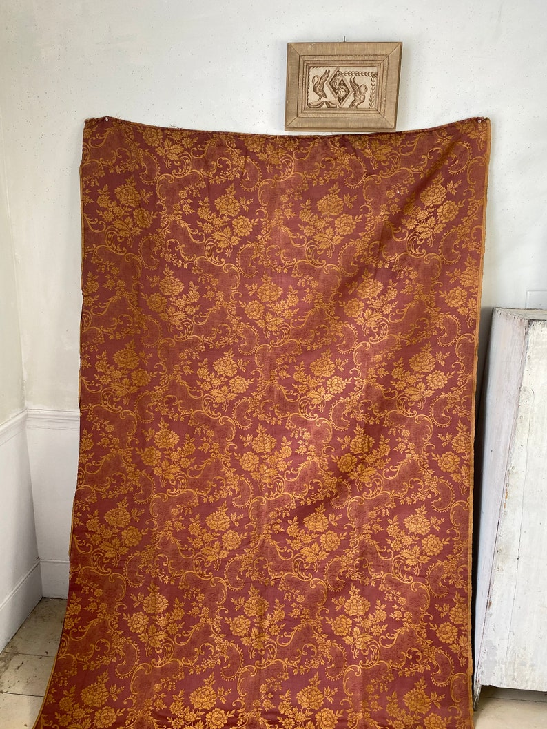 Heavy weight Damask upholstery fabric French antique 1900 floral weave rust toned autumnal