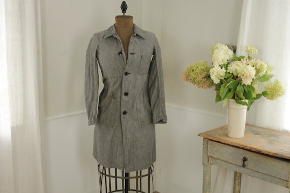 Small smock dress gray French school clothing 1940