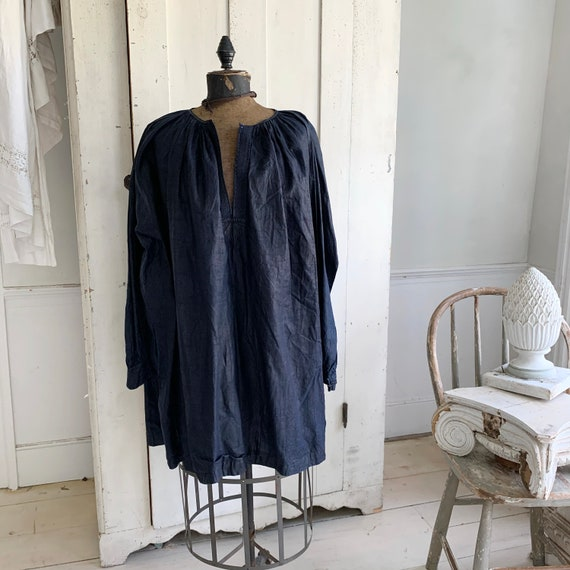 French Antique Men's smock dyed indigo blue Chintz