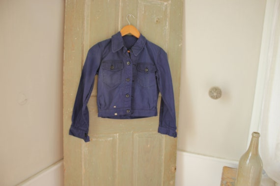 French work wear Vintage French Dark Blue Coat sma