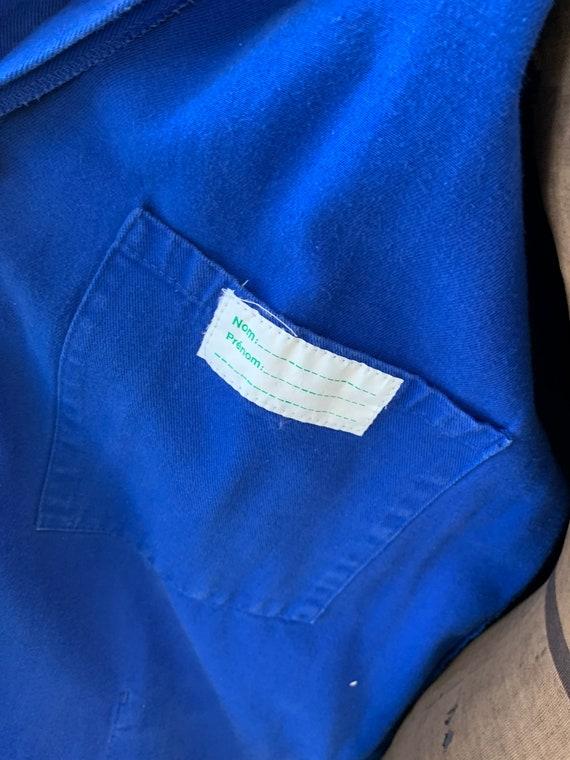 Vintage Jacket French Long Prussian Blue Lab Coat… - image 7