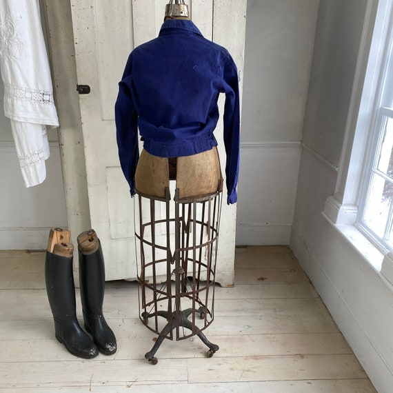 Vintage Jacket French Workwear Dark Blue Coat Zip… - image 8