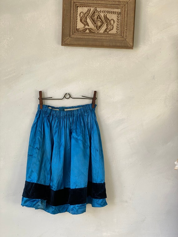 Antique Girl's Blue Silk Skirt French early 1900s