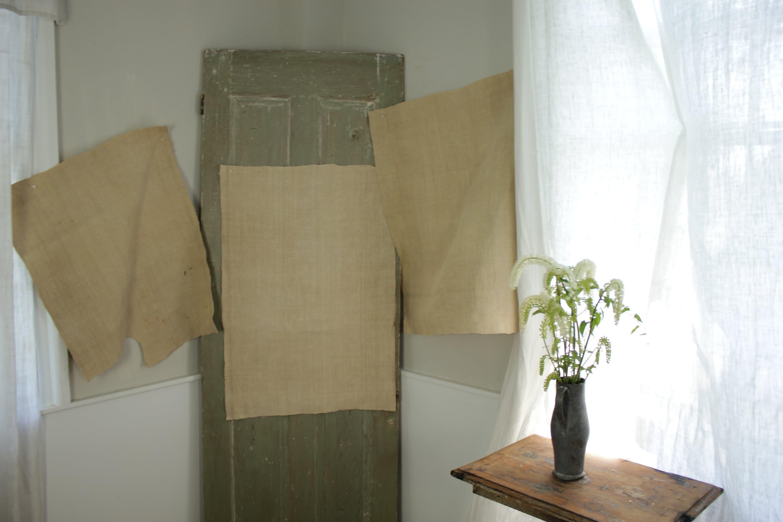 Sac Sac Sac de Grain de lin Uni tissu Antique début des feuilles de chanvre menage 3 petits morceaux ou un chiffon de vêtements 4fde7b