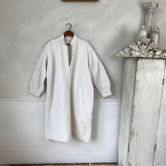 White Brushed Cotton Shirt Textured Sleepwear 192… - image 3