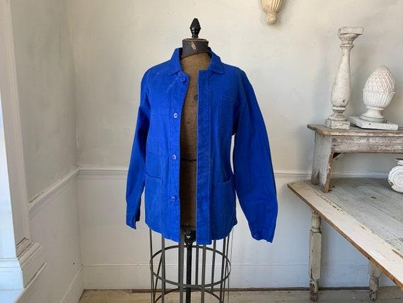 Vintage Jacket French Prussian Blue Farmer's Work… - image 1