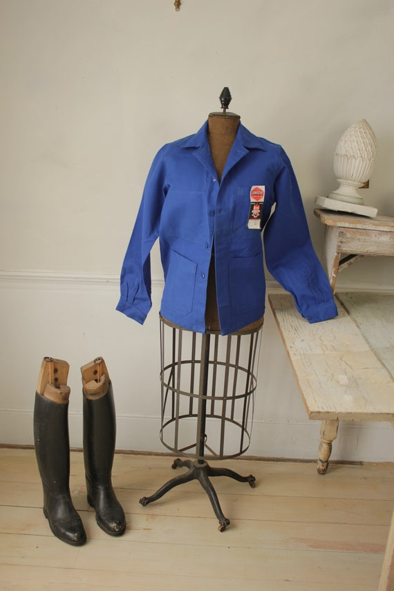 Jacket Vintage French Blue Coat Work wear button … - image 5