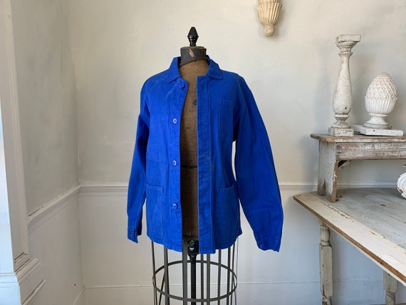 Vintage Jacket French Prussian Blue Farmer's Work… - image 6