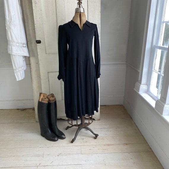 Black rayon dress 1930's 1940's fashion French dr… - image 2