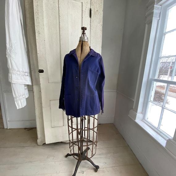Vintage Jacket French Workwear Faded Antique Dark… - image 2