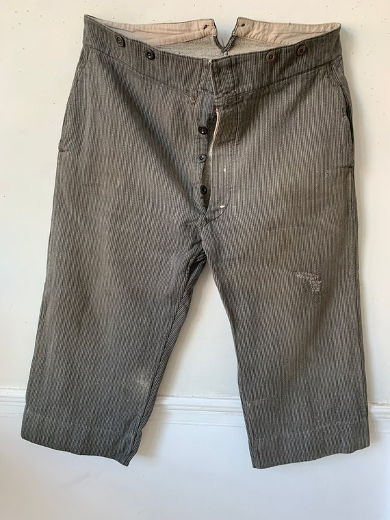 Vintage Pants French Workwear Trousers Gray Salt &