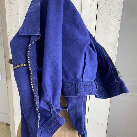Vintage Jacket French Workwear Dark Blue Coat Zip… - image 10