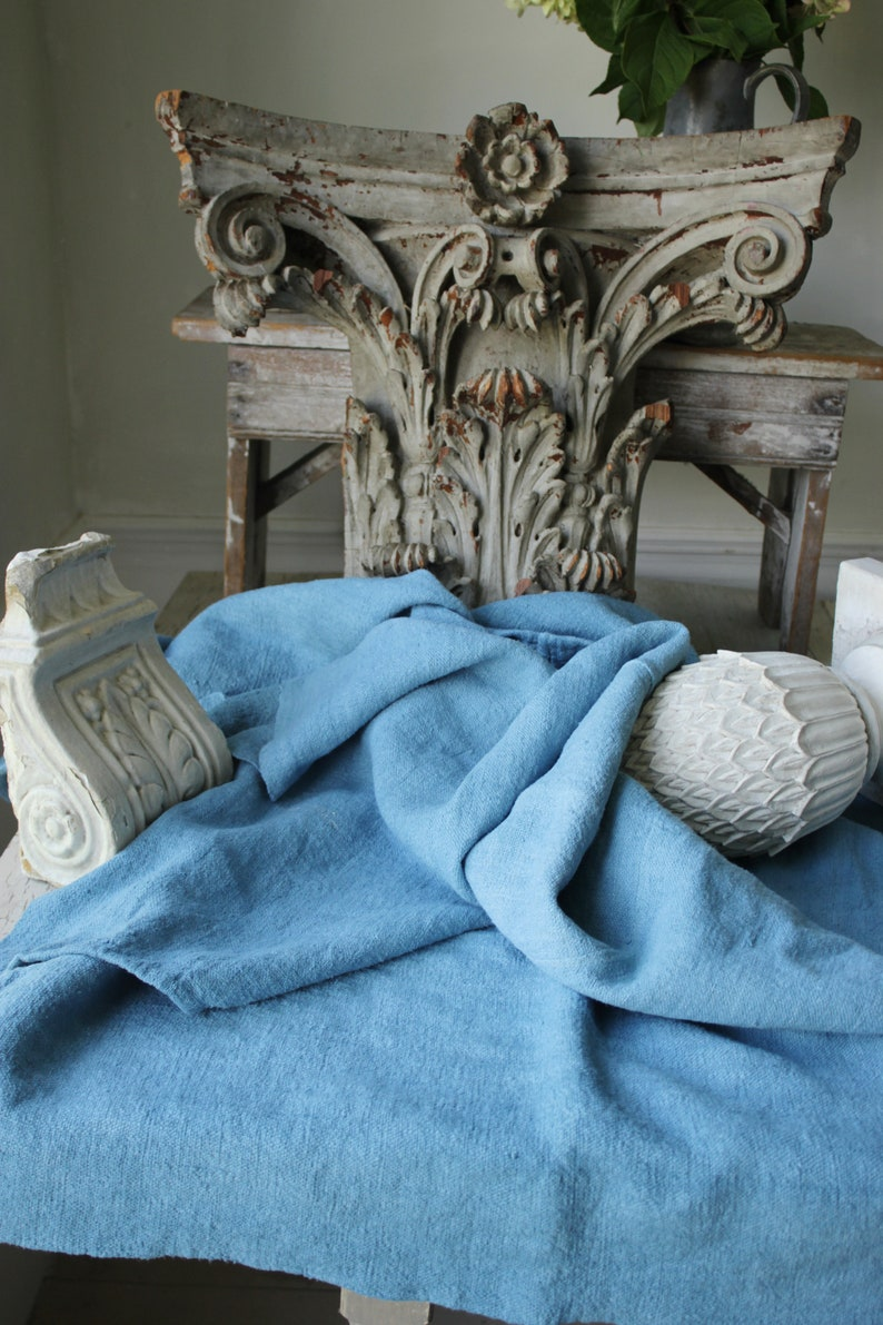 Dyed antique linen sheet blue fabric upholstery pillows c 1700's nubby linen