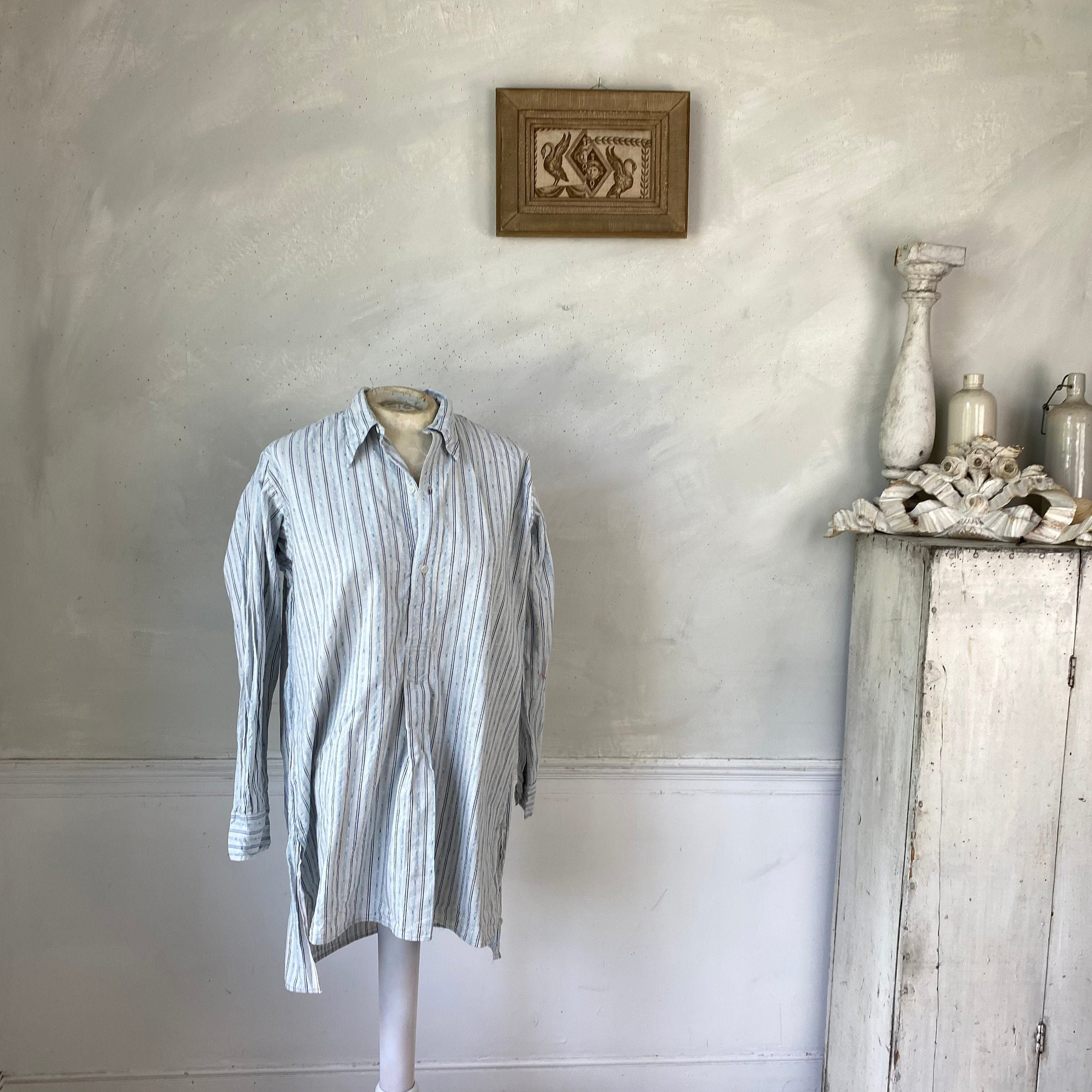 1940s Men's Shirts, Sweaters, Vests striped Patterned Blue Cotton Mens Vintage Shirt Or Tunic Soft White Circa 1930S-40S French Workwear Work Wear $155.00 AT vintagedancer.com