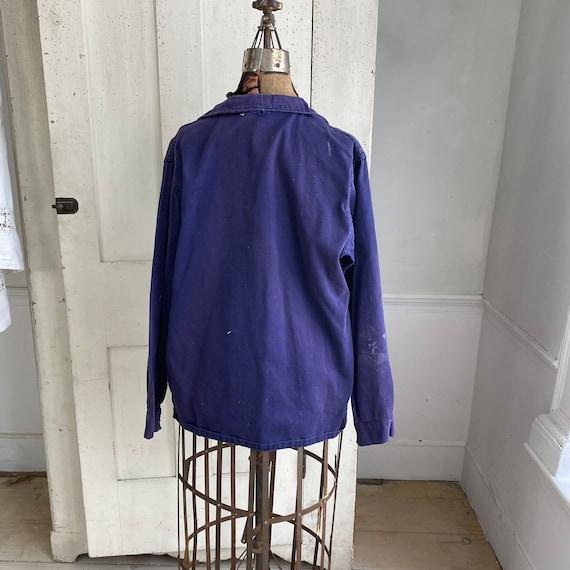 Vintage Jacket French Workwear Faded Antique Dark… - image 7