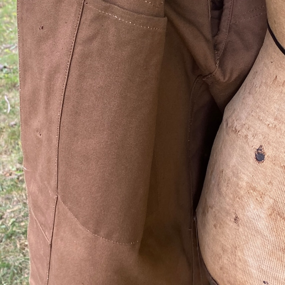 Vintage Canvas Jacket Heavy Brown Cotton Unused F… - image 7